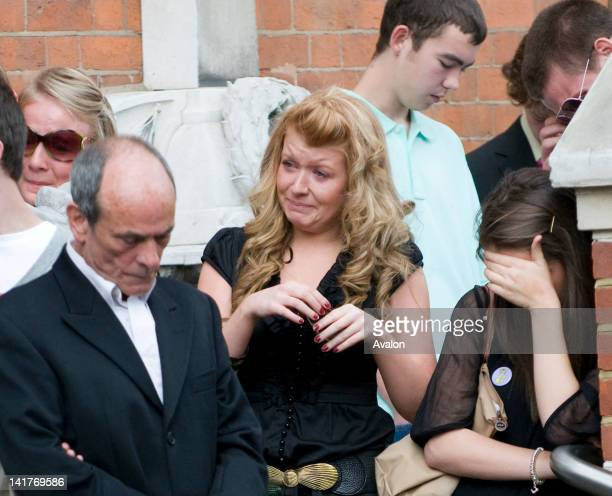 Family and friends at the funeral of murdered teenager Ben Kinsella brother of Eastender actress Brooke Kinsella at St John the Evangelist Roman...
