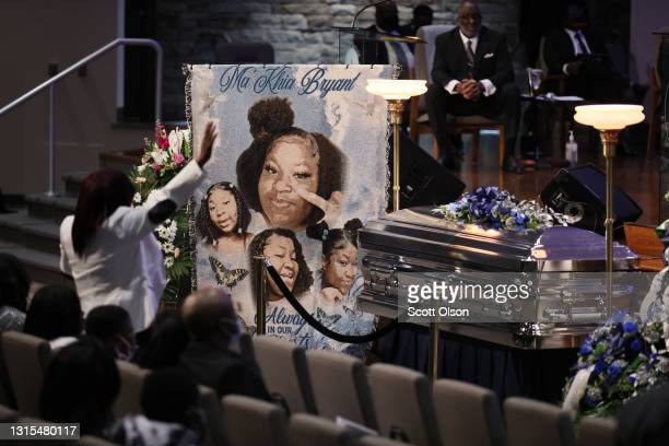 Family and friends attend a funeral service for 16-year-old Ma'Khia Bryant at the First Church of God on April 30, 2021 in Columbus, Ohio. Bryant was...