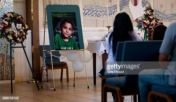 Family and friends attend a memorial service for Gabriel Fernandez a Palmdale boy who was allegedly beat to death by his mother's boyfriend at Church...