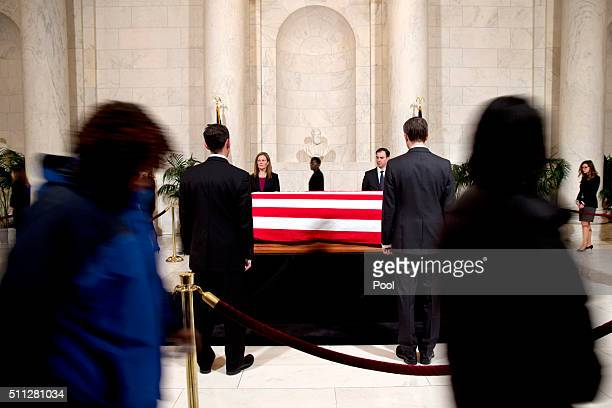 Family and friends attend a private visitation in the Great Hall of the Supreme Court where late Supreme Court Justice Antonin Scalia lies in repose...
