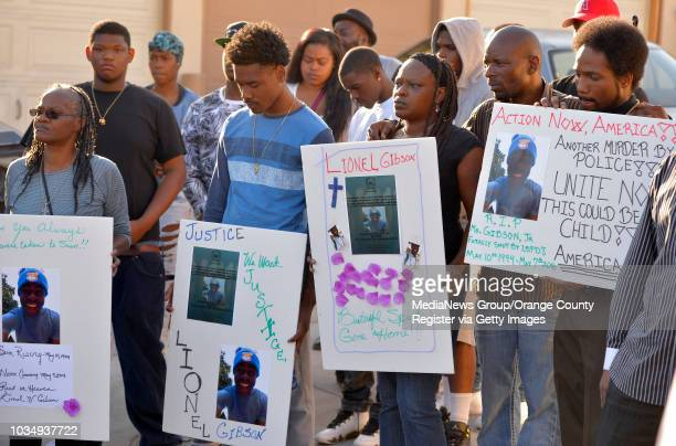 Family and friends attend a vigil for Lionel Gibson in Long Beach CA on Wednesday May 18 2016 A couple dozen family friends and people from the...