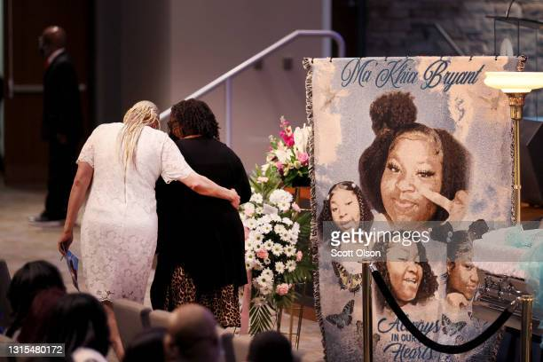 Family and friends attend a visitation and funeral service for 16-year-old Ma'Khia Bryant at the First Church of God on April 30, 2021 in Columbus,...