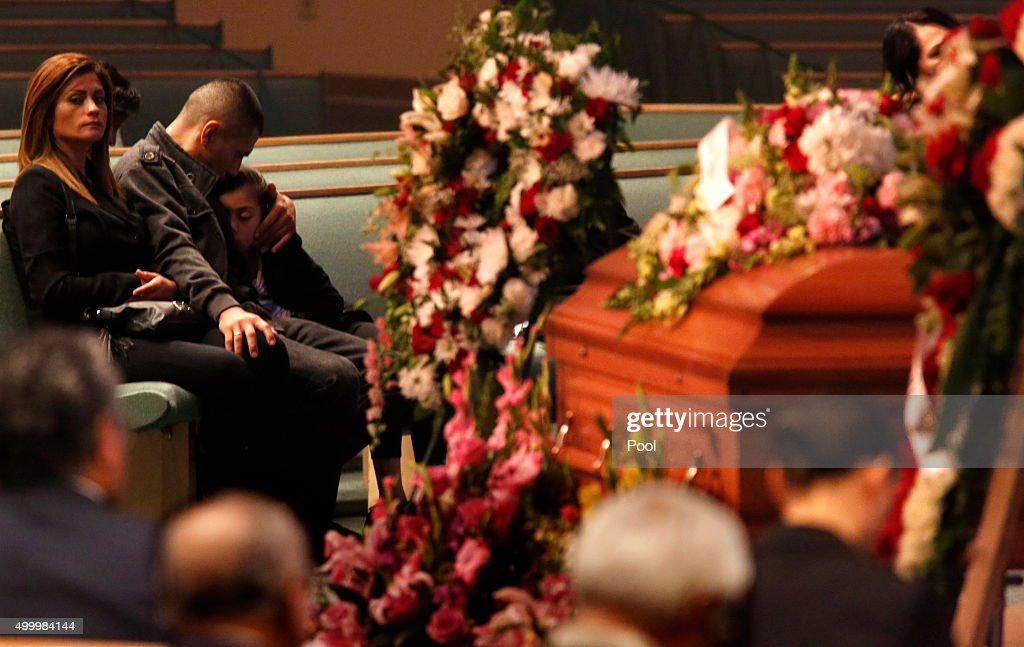 Family and friends attend funeral services for Paris attack victim Nohemi Gonzalez at the Calvary Chapel on December 4, 2015 in Downey, California. Gonzalez was the 23 year-old Cal State Long Beach student who was killed while dining with friends at a bistro in Paris last month. Gonzalez, from El Monte, was a senior majoring in industrial design and one of 17 CSULB students attending Strate School of Design in Paris as part of a study abroad program. She was one of 129 people killed in the coordinated attacks.