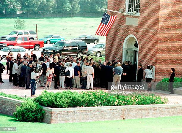 Family and friends attend the funeral service for Barbara Eden''s son Michael Ansara July 2 2001 at the Forest Lawn Cemetery in Los Angeles CA...