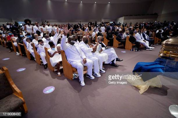 Family and friends attend the funeral service for George Floyd in the chapel at the Fountain of Praise church June 9 2020 in Houston Texas Floyd died...