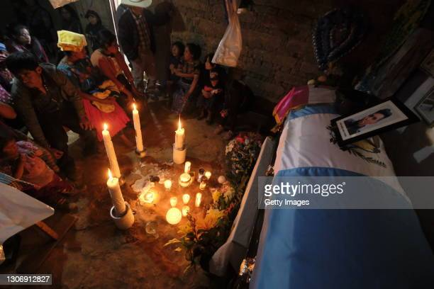 Family and friends attend the wake of Iván Gudiel Pablo Tomás, 22 years old murdered in Tamaulipas during his journey to the US for the one he paid...