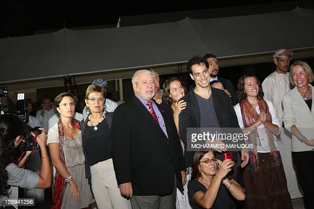 Family and friends await the arrival of American hikers Shane Bauer and Josh Fattal on September 21 2011 in Muscat Oman after Tehran released them on...