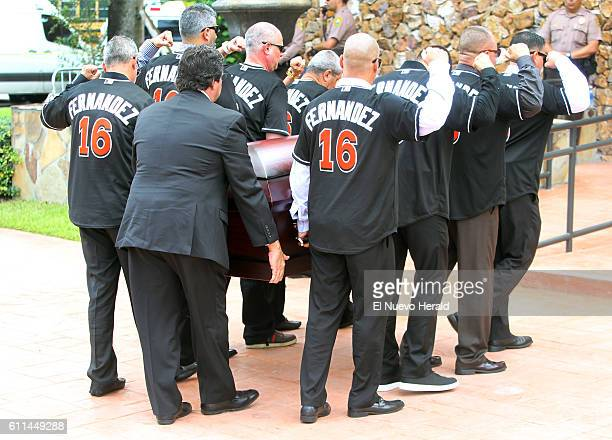 Family and friends carry the casket of Miami Marlins pitcher Jose Fernandez before a memorial service at St Brendan Catholic Church in Miami on...