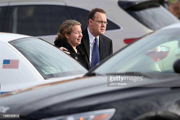 Family and friends depart the funeral for shooting victim Jessica Rekos at the St Rose of Lima Catholic church on December 18 2012 in Newtown...