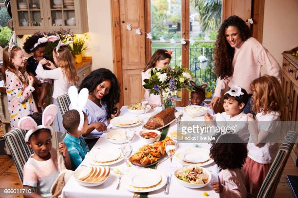 Family and friends eating their easter meal.