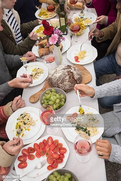 Family and friends enjoying party at farmhouse, Bavaria, Germany