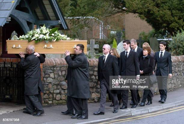 Family and friends follow the coffin of murdered British backpacker Katherine Horton at St Isan's Church Llanishen Cardiff south Wales Tuesday...