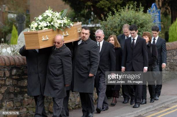 Family and friends follow the coffin of murdered British backpacker Katherine Horton into St Isan's Church Llanishen Cardiff south Wales Tuesday...