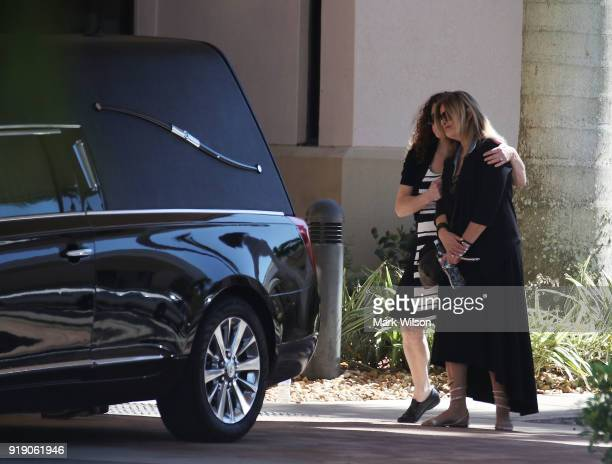 Family and friends gather for the funeral service for Meadow Pollack at the Jewish congregation Kol Tikvah on February 16 2018 in Parkland Florida...