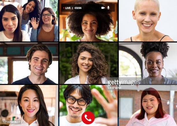 family and friends happy moments in video conference - facetime stock pictures, royalty-free photos & images