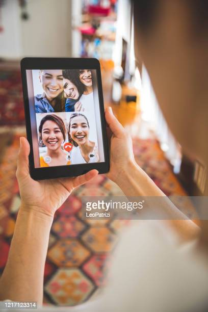 family and friends happy moments in video conference - video still stock pictures, royalty-free photos & images