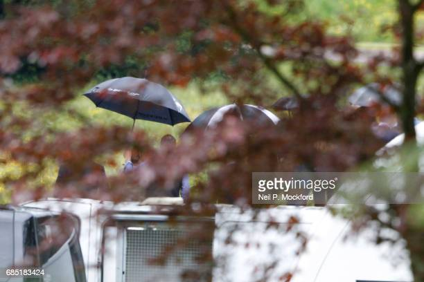 Family and friends leave a wedding rehearsal at St Mark's Church ahead of the Wedding of Pippa Middleton and James Matthews on May 19 2017 in...