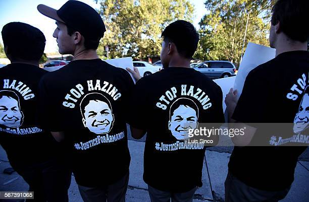 NORTHRIDGE CALIF JULY 9 2014 Family and friends of Armando Villa rally Wednesday July 9 to call for an end to fraternity hazing at Cal State...