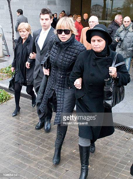 Family and friends of Carlota Canto Cobo attend her funeral on January 31, 2011 in Barcelona, Spain.