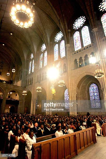 Family and friends of Luther Vandross attend his funeral at Riverside Church July 8 2005 in New York City