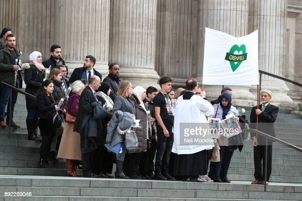 Family and friends of the victims of Grenfell attend the Grenfell Tower national memorial service held at St Paul's Cathedral on December 14 2017 in...