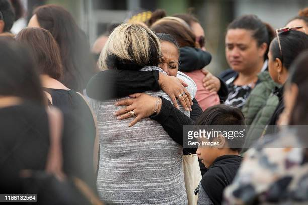 Family and friends of victims of the White Island eruption gather in Whakatane on December 13 2019 in Whakatane New Zealand Authorities will attempt...