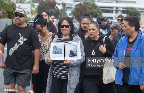 Family and friends of victims of the White Island eruption gather on December 13 2019 in Whakatane New Zealand Authorities will attempt to retrieve...