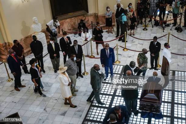 Family and friends pay their respects to civil rights leader C.T. Vivian as he lies in state in the Georgia Capitol building on July 22, 2020 in...
