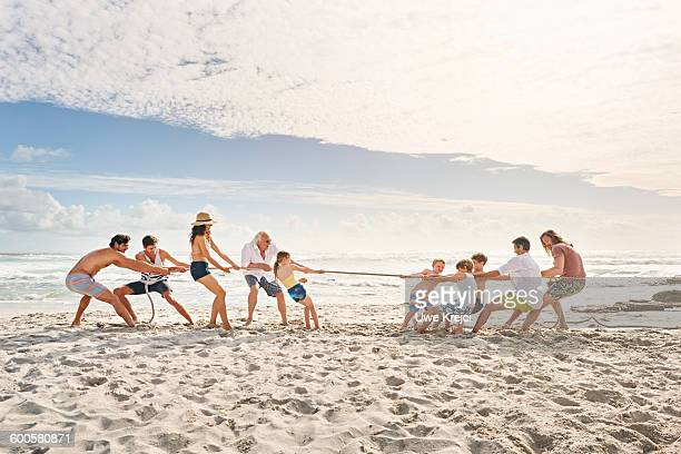 Family and friends playing tug of war on beach