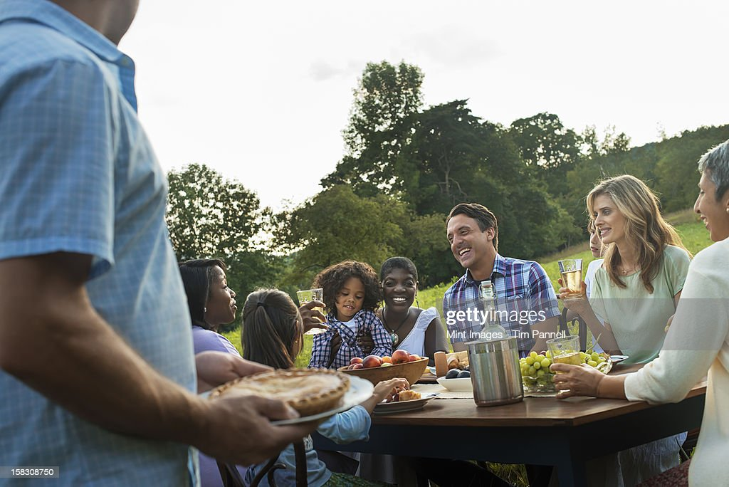 A family and friends sitting at a table outdoors having a meal. : Stock Photo