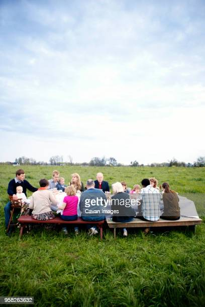 family and friends sitting at picnic table against sky - 家族の集まり ストックフォトと画像
