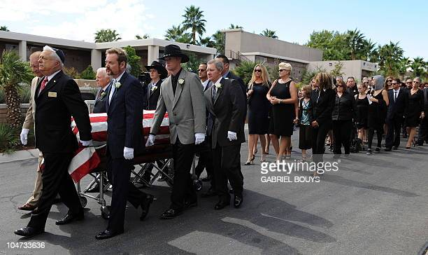 Family and relatives attend the funeral service of Hollywood legend Tony Curtis at the Palm Mortuary and Cemetery Green Valley in Las Vegas on...