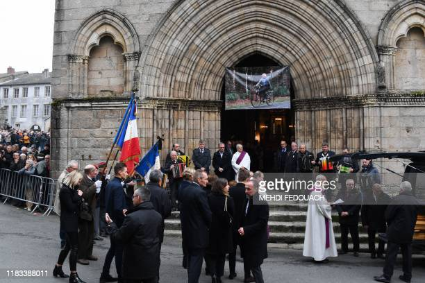 Family and relatives attend the funerals of French cyclist Raymond Poulidor in SaintLeonarddeNoblat on November 19 2019 French cyclist Raymond...