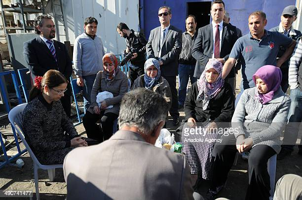 Family and Social Policies Minister Aysenur Islam meets relatives of the victims following the coal mine fire disaster in Soma district of Manisa,...