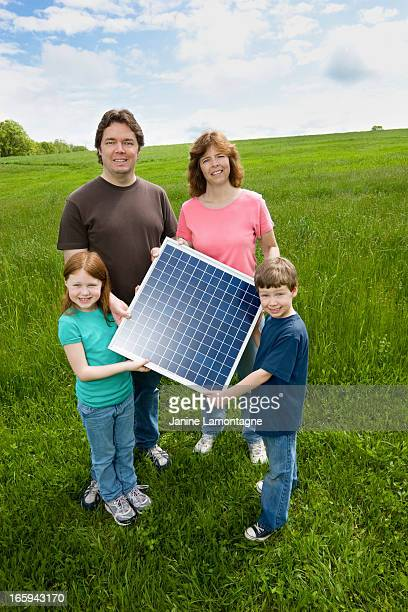 Family and Solar Panel