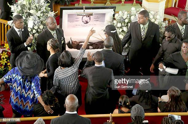 Family and supporters attend the funeral for Corey Jones on Oct 31 2015 at the Payne Chapel AME of West Palm Beach Fla Jones was shot and killed by...