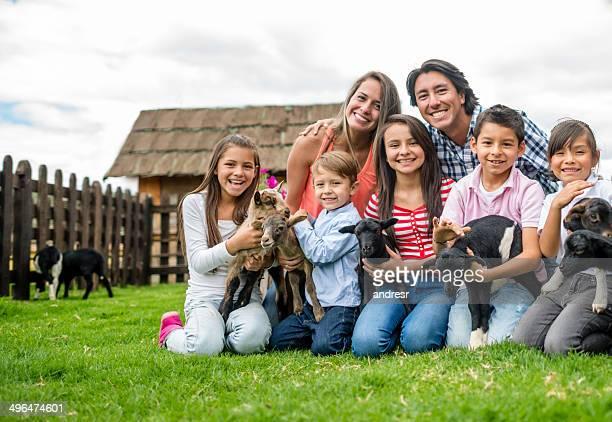 Family at an animal farm