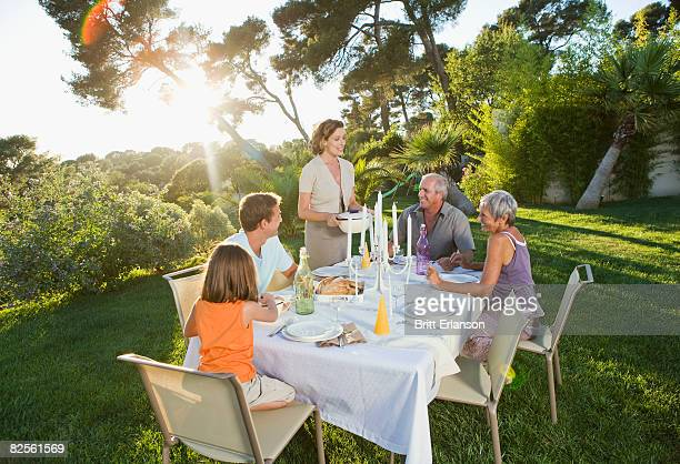 Family at an outdoor meal