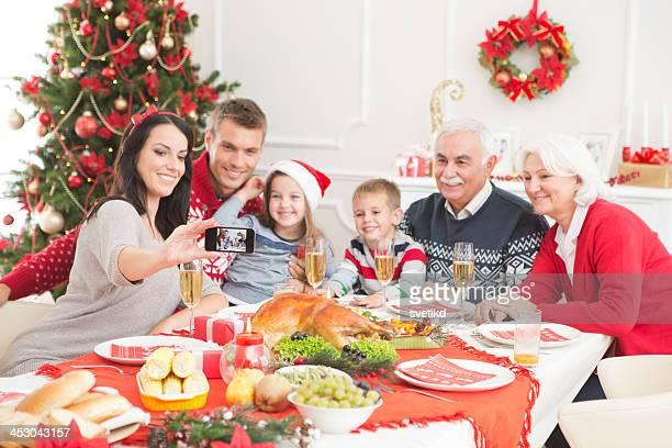 Family at christmas dinner.