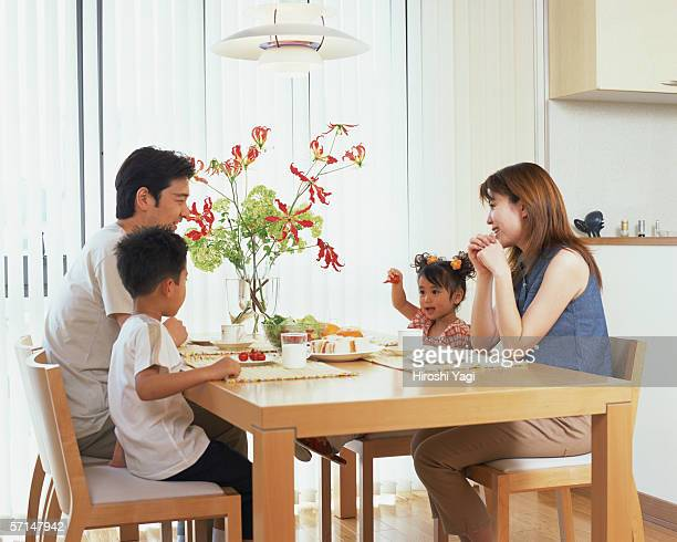 A family at dinning table