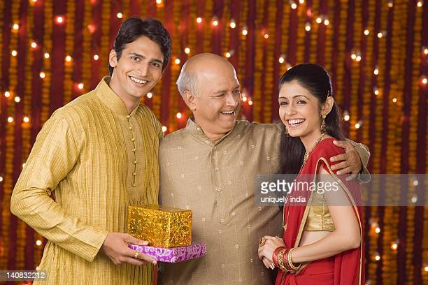Family at Diwali occasion smiling