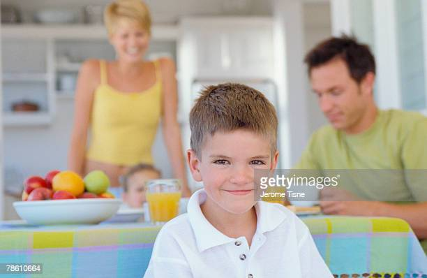 Family at kitchen table