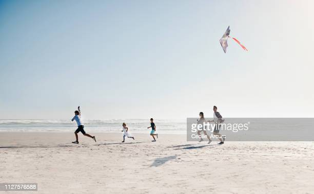 family at play on a bright sunny day - kite toy stock pictures, royalty-free photos & images