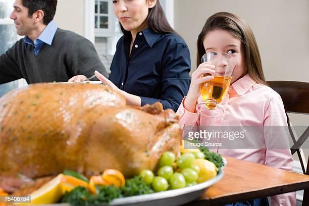 Familie an thanksgiving-Abendessen