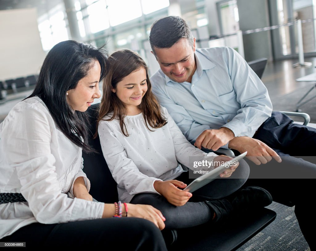 Family at the airport : Stock Photo