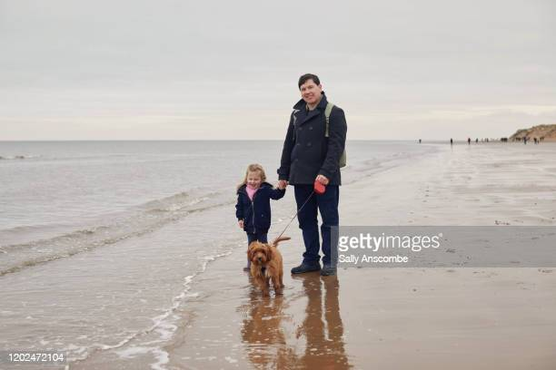 family at the beach together - walking stock pictures, royalty-free photos & images