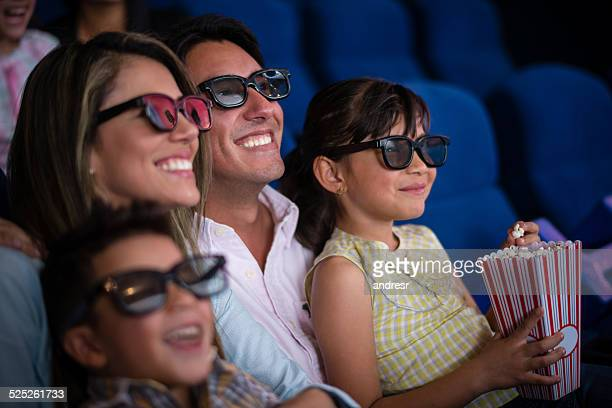 family at the cinema - 3d mom son stock photos and pictures