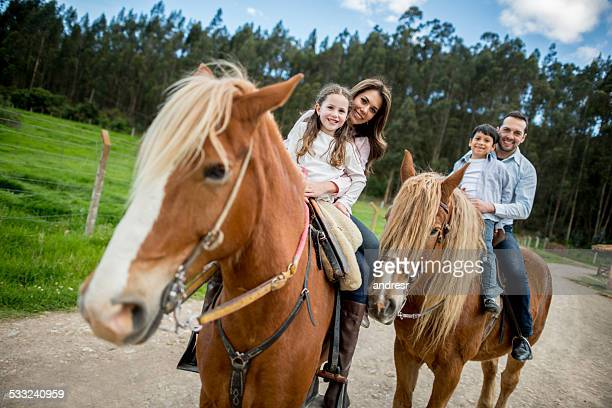family at the farm - horseback riding stock pictures, royalty-free photos & images