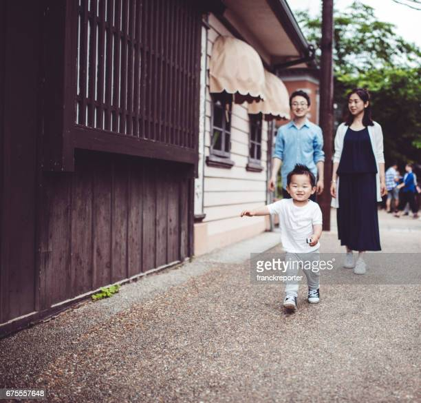 family at the temple - showa period stock pictures, royalty-free photos & images