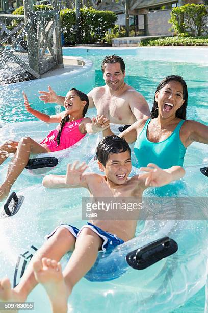 Family at water park